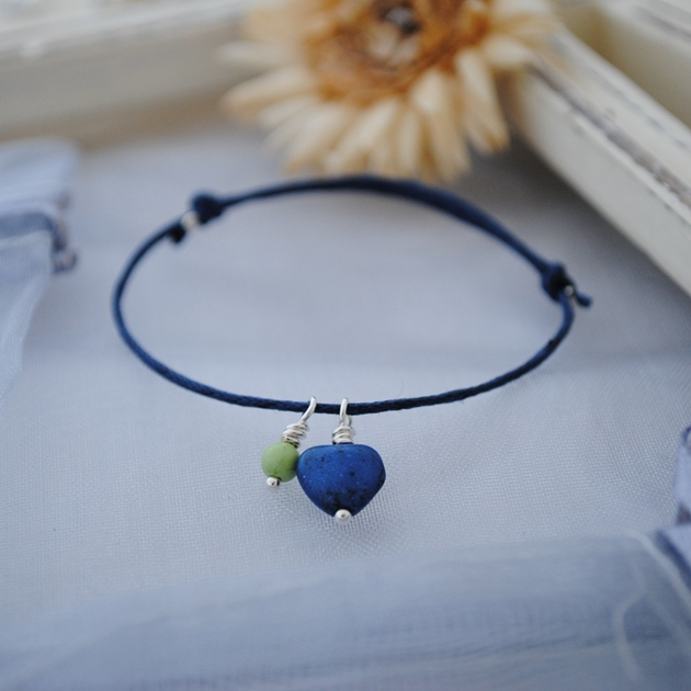 Friendship Bracelet-Navy & Howlite heart