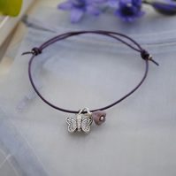 Friendship Bracelet-Purple leather & silver butterfly
