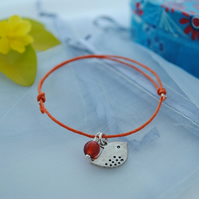Friendship Bracelet-Orange cord with silver bird