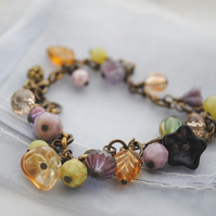 Titania Secret Garden charm bracelet (purple & jade)