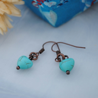 Turquoise howlite heart earrings