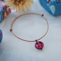 Friendship Bracelet-Leather & Fuchsia Howlite Peace
