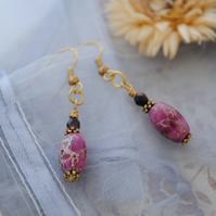 Imperial Jasper & gold earrings