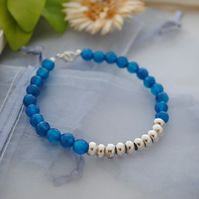 Agate (deep teal) & silver colourblock bracelet