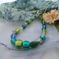 Teal & Capri cord necklace