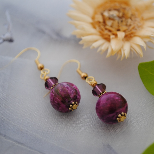 Purple Jasper & Swarovski crystal earrings (gold)