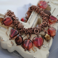 Pink Copper Charm Srunchie Bracelet