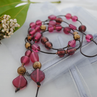 Sale-Pink Copper Lariat necklace