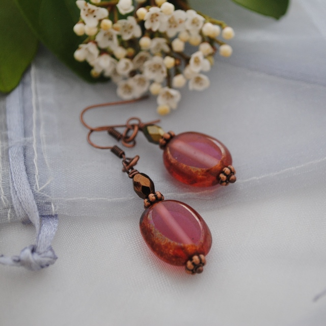 Copper Pink oval earrings