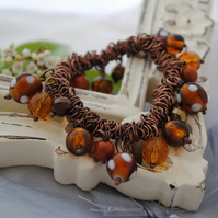 Mustard & Brown Copper Charm Srunchie Bracelet