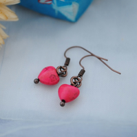 Fuchsia howlite heart earrings