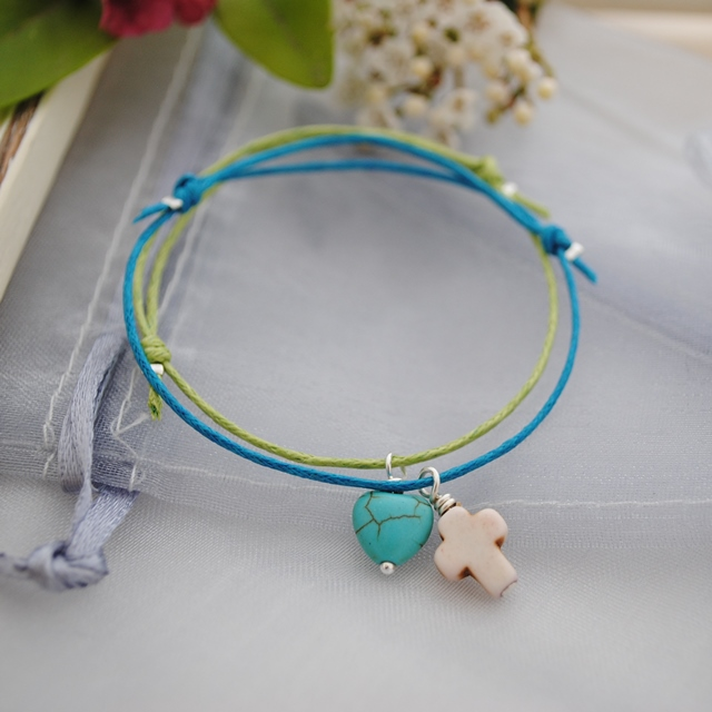 Friendship Bracelets-Turquoise & Lime heart Set
