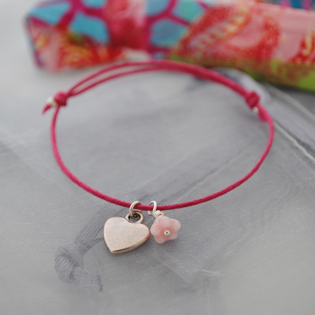 Friendship Bracelet-Fuchsia with silver heart