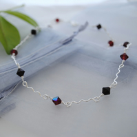 Ruby swarovski & silver choker necklace