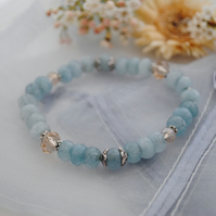 Aqua quartz & Pewter stretch bracelet