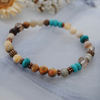 Turquoise & crazy lace agate stretch bracelet
