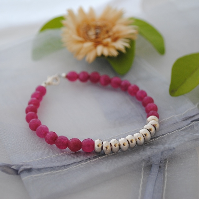 Kyanite fuchsia & silver colourblock bracelet