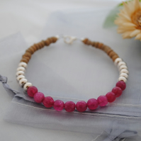 Kyanite fuchsia colourblock bracelet