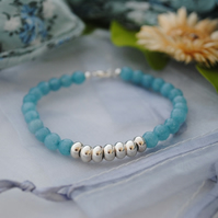 Kyanite in light teal & silver colourblock bracelet