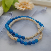 Agate stretch bracelet stack in deep teal (boho, beach)