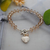 Champagne crystal and silver heart bracelet