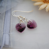Swarovski amethyst heart earrings