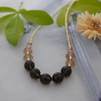 Smoky Quartz & crystal necklace