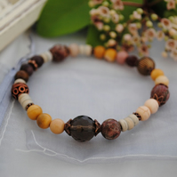 Mookaite, smoky quartz, poppy jasper stretch bracelet