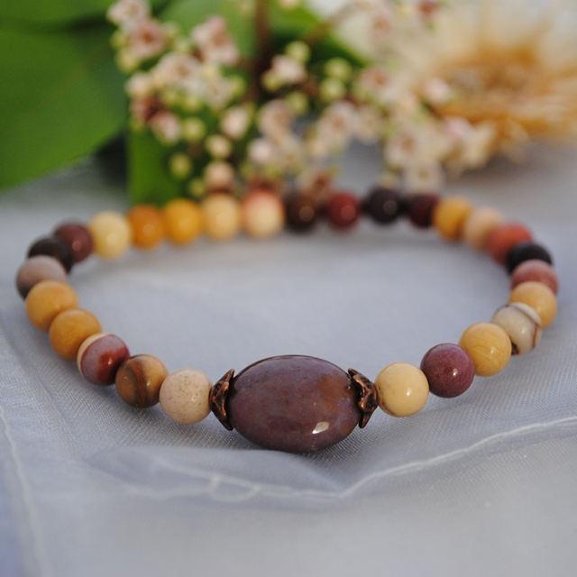 Mookaite & Indian Agate stretch bracelet (purple)