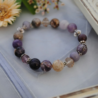Cape Amethyst & Crystal stretch bracelet