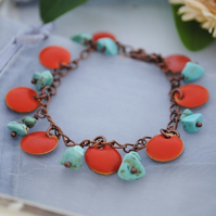 Turquoise & orange coin charm bracelet