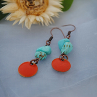 Turquoise & orange coin earrings