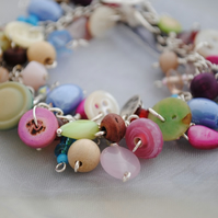 Neopolitan ice-cream & button charm bracelet