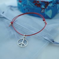 Friendship Bracelet-Red with silver peace