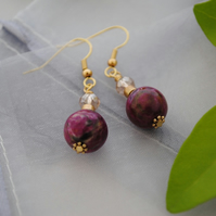 Purple Jasper & champagne crystal earrings