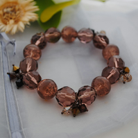 Copper stretch crystal charm bracelet