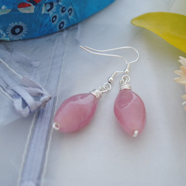 Pink & silver wrap earrings