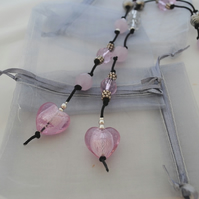Pink & Silver Lariat Necklace
