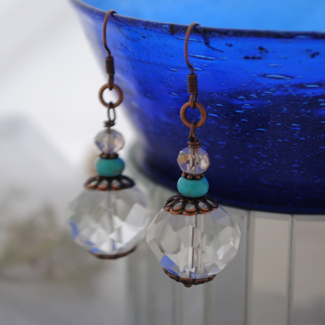 Turquoise crystal copper earrings