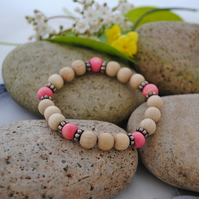 Pink wood bead bracelet (small)