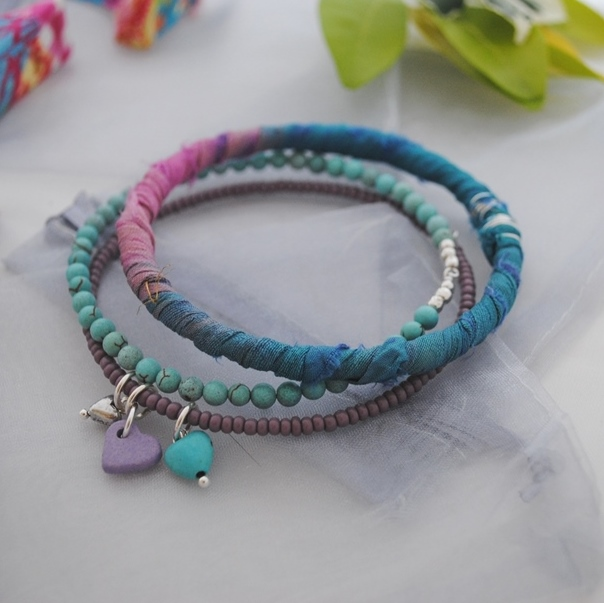 Sari bangle bracelet 3 hearts set-festival, boho, beach & surfer style