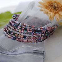 Purple seed bead wrap (memory wire) Bracelet