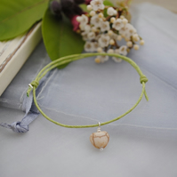 Friendship Bracelet-Howlite heart & green cord