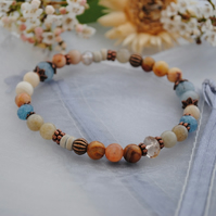 Labradorite & crazy lace agate stretch bracelet (copper)