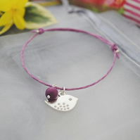 Friendship Bracelet-Violet cord with silver bird