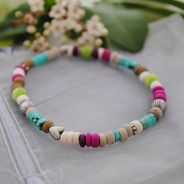 Turquoise heishi bright colours stretch bracelet-boho, beach & surfer style