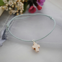 Friendship Bracelet-Blue with howlite cross