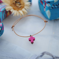 Friendship Bracelet-Leather & Fuchsia Howlite Cross