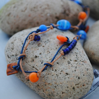Marine & Orange Knots-Boho, beach & surfer style