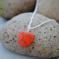 Orange howlite heart pendant necklace
